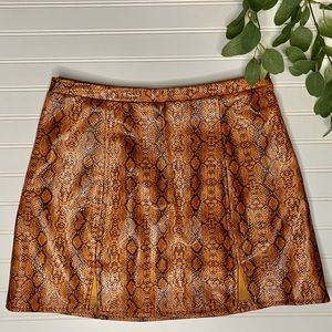 UO Bobbi snake print notched skirt